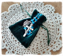 Aqua Rosary with Hunter Green Pouch